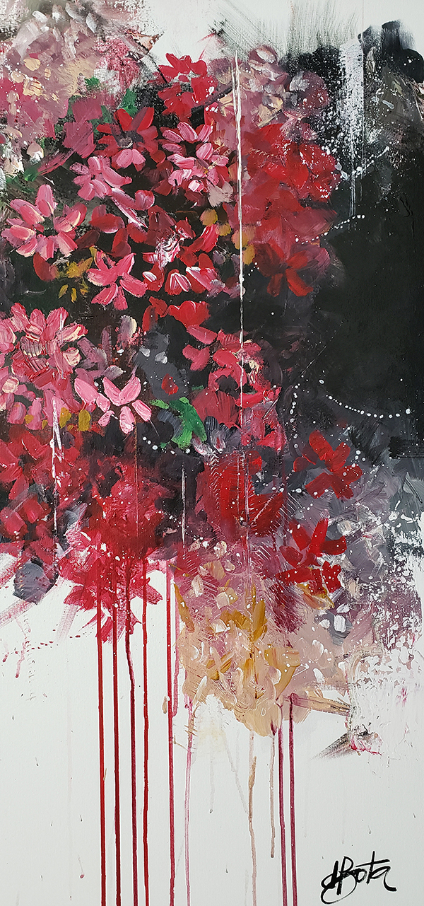 Flowers Red 100x100cm 01