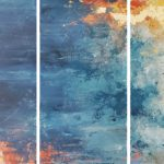Contemporary Blue Tryptich 225x140cm